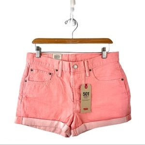 NWT Levi's 501 Coral Pink Denim Shorts Size 30